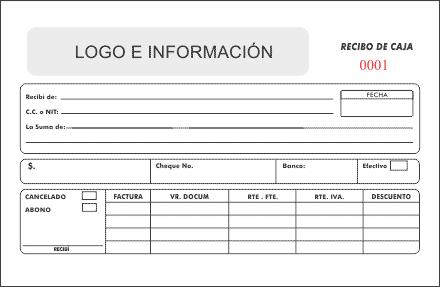 Ejemplo de formato recibo de caja